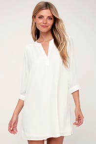 HIGH LINE WHITE SHIFT DRESS at Lulus.com!