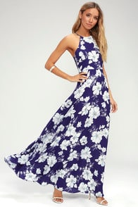 Valley Isle Royal Blue Floral Print Maxi Dress at Lulus.com!