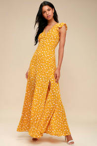FRESH PICKED MUSTARD YELLOW FLORAL PRINT BACKLESS MAXI DRESS at Lulus.com!