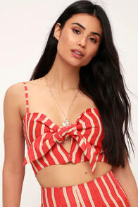 De Fiori Coral Orange Striped Tie-Front Crop Top at Lulus.com!