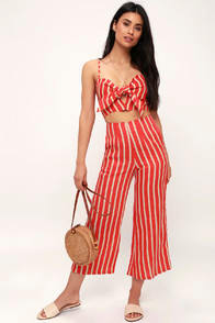 Tomas Coral Orange Striped Culotte Pants at Lulus.com!