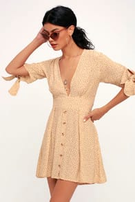 BIRGIT BEIGE POLKA DOT MINI DRESS at Lulus.com!