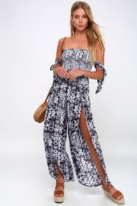 Lost + Wander Violeta Purple Print Off-the-Shoulder Jumpsuit at Lulus.com!