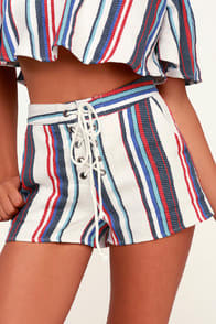 Lost + Wander Azul Multi Striped Lace-Up Shorts at Lulus.com!