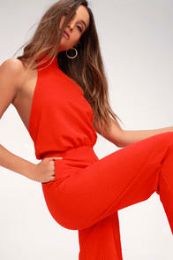 MOMENT FOR LIFE RED HALTER JUMPSUIT at Lulus.com!
