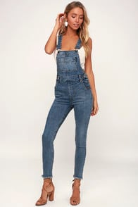 Foss Medium Wash High-Waisted Distressed Denim Overalls at Lulus.com!