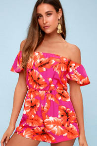 Frond Ambition Fuchsia Leaf Print Off-the-Shoulder Romper at Lulus.com!