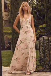 Lulus Romantic Memories Taupe Floral Print Maxi Dress at Lulus.com!