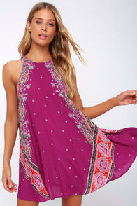 DARJEELING MAGENTA PRINT SLEEVELESS SLIP DRESS at Lulus.com!