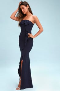 Valerie Navy Blue Ruffled Strapless Maxi Dress at Lulus.com!