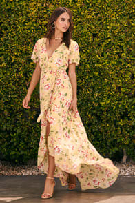 Sense of Wonder Yellow Floral Print Wrap Dress at Lulus.com!