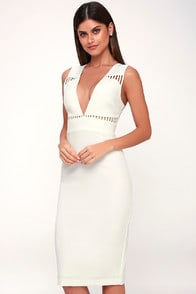 Lara White Sleeveless Cutout Midi Dress at Lulus.com!