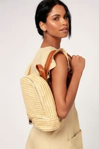 LOIRE BEIGE WOVEN BACKPACK at Lulus.com!