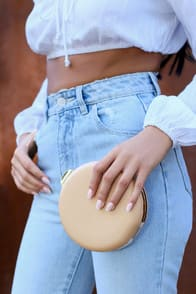SERENA BEIGE ROUND CLUTCH at Lulus.com!