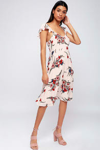 Take a Bow-quet Blush Floral Print Midi Dress at Lulus.com!