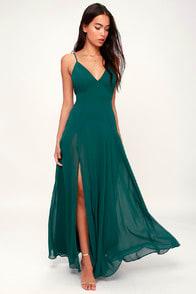 LOVELY STILL FOREST GREEN SLEEVELESS MAXI DRESS at Lulus.com!
