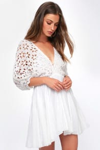 Free People Bella Note White Eyelet Mini Dress at Lulus.com!