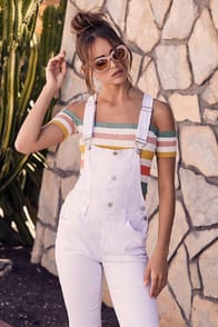 The World Is Yours White Distressed Denim Overalls at Lulus.com!
