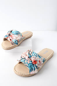 Brenda Natural Floral Gingham Print Espadrille Slides at Lulus.com!