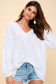 Amuse Society Clear Skies White Embroidered Long Sleeve Top at Lulus.com!