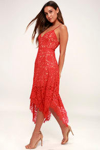 One Wish Red Lace Midi Dress at Lulus.com!