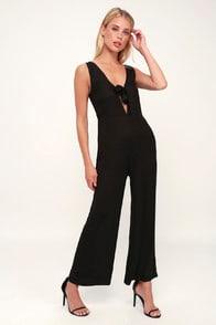 Hang On Black Tie-Front Wide-Leg Jumpsuit at Lulus.com!