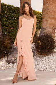 Luxurious Love Blush Lace-Up Maxi Dress at Lulus.com!