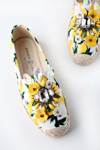 HAYDEN YELLOW LEMON PRINT SLIP-ON ESPADRILLE SNEAKERS at Lulus.com!