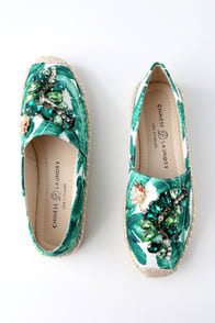 HAYDEN GREEN TROPICAL PRINT SLIP-ON ESPADRILLE SNEAKERS at Lulus.com!
