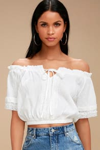 Fulton White Off-the-Shoulder Crop Top at Lulus.com!