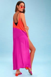 Seaside Retreat Coral Red and Magenta Maxi Cover-Up at Lulus.com!