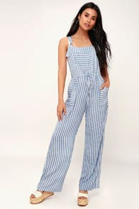 Portofino Blue and White Striped Overalls at Lulus.com!