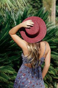Lulus Tropicali Burgundy Straw Boater Hat at Lulus.com!