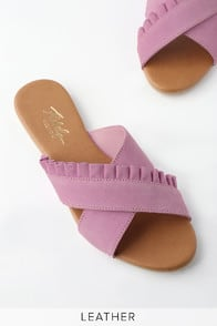 Daray Lilac Leather Slide Sandals at Lulus.com!
