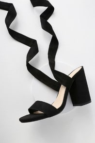ALTA BLACK SUEDE LACE-UP HEELS at Lulus.com!