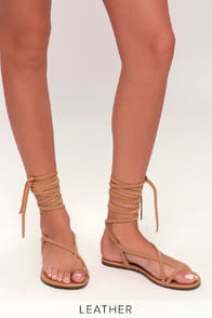 Taylen Tan Kid Suede Leather Flat Lace-Up Sandals at Lulus.com!