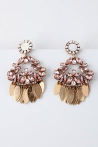 Candela Gold and Pink Rhinestone Earrings at Lulus.com!