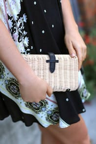 Nob Hill Beige and Black Woven Basket Clutch at Lulus.com!