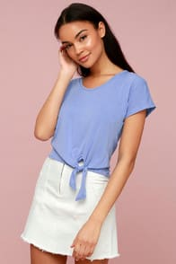 All Day Periwinkle Blue Tie-Front Tee at Lulus.com!