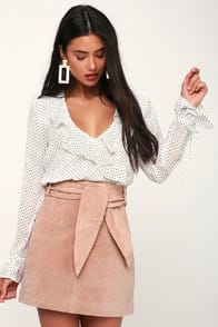 Candy Crush Blush Pink Suede Leather Mini Skirt at Lulus.com!