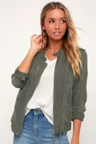 Paystub Olive Green Lightweight Jacket at Lulus.com!