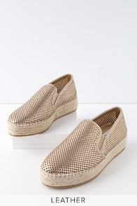 Wright Gold Leather Perforated Slip-On Espadrille Sneakers at Lulus.com!