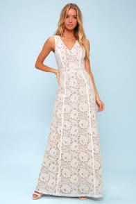 Alara White Lace Maxi Dress at Lulus.com!