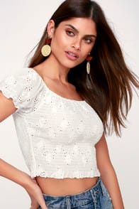 One Kiss White Smocked Eyelet Off-the-Shoulder Crop Top at Lulus.com!