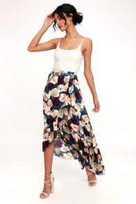 ADRIANA BLUE FLORAL PRINT RUFFLE HIGH-LOW SKIRT at Lulus.com!