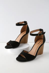 REID BLACK SUEDE WEDGES at Lulus.com!
