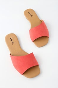 Remi Coral Rose Suede Slide Sandals at Lulus.com!