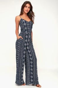 NASH NAVY BLUE PRINT JUMPSUIT at Lulus.com!