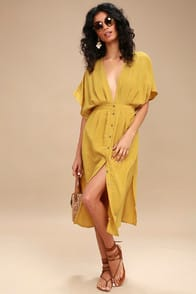 Lost + Wander Poppy Mustard Yellow Button-Up Midi Dress at Lulus.com!