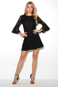 Favorite Flair Black Lace Flounce Sleeve Dress at Lulus.com!